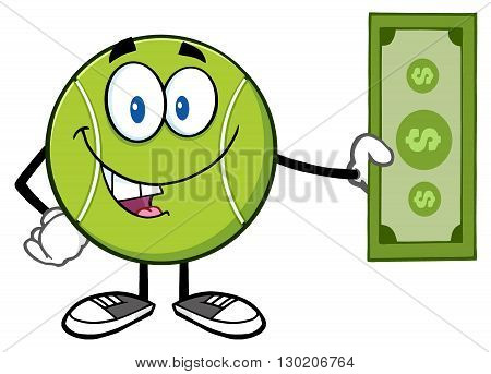 Tennis Ball Cartoon Mascot Character Holding A Dollar Bill