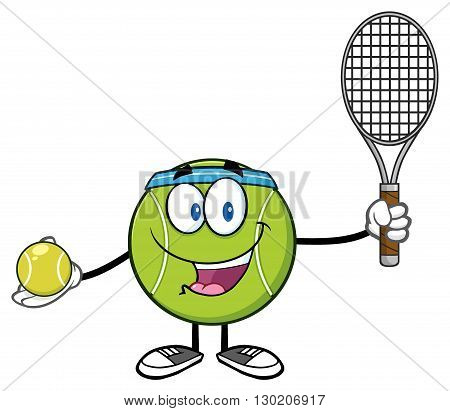 Tennis Ball Player Cartoon Character Holding A Tennis Ball And Racket