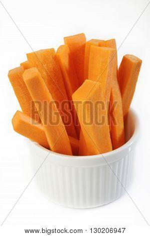 carrots sticks vegetable att in white bowl