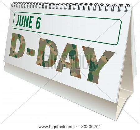 D-Day anniversary desktop calendar with D-Day observance day isolated illustration