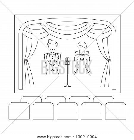 Theater stage with curtain, emcee, actors, microphone and seats, vector line illustration. Theater or cinema logo template. Entertainment icon.