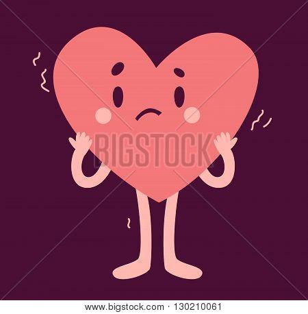 Cute Heart Character Affraid