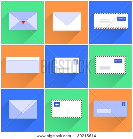 Snail mail letters envelopes flat style set, vector illustration background