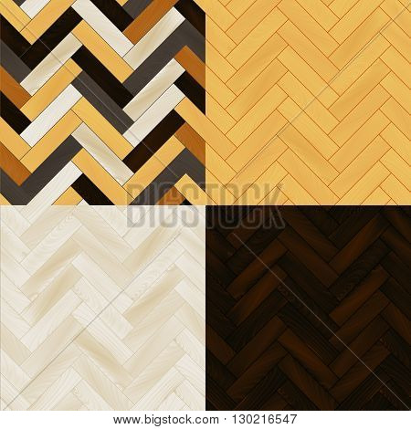 Realistic wooden floor herringbone parquet seamless patterns set, vector background