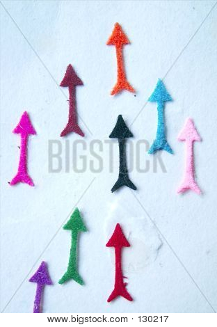 bindi in the shape of coloured arrows. poster