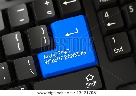 Button Analyzing Website Ranking on Black Keyboard. Analyzing Website Ranking on Modernized Keyboard Background. Analyzing Website Ranking Written on a Large Blue Button of a PC Keyboard. 3D.
