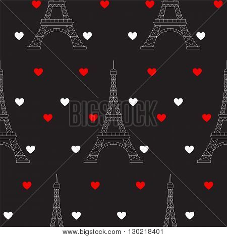 Eiffel Tower and hearts, vector seamless pattern. Paris romantic valentine background.