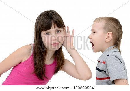 Girl listens to a boy on white background