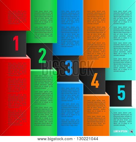 Infographics in paper style with colorful sheets and descending numbered items from one to five
