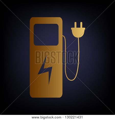 Electric car charging station sign. Golden style icon on dark blue background.