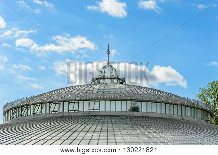 External view of Keeble palace roof at the Glasgow Botanic Gardens. The Keeble palace is a notable glasshouse in the West End of Glasgow Scotland.