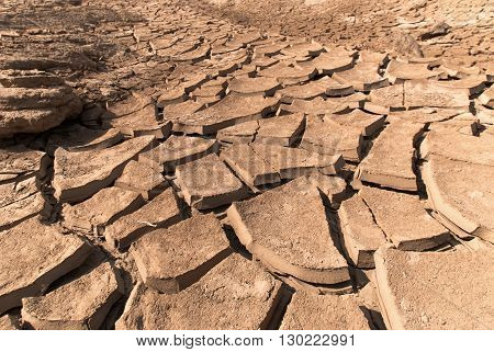 Cracked dry land without water, Dry soil in arid areas