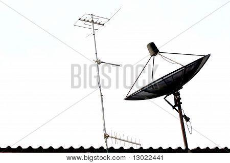 Satellite dish and Radio Antenna on the Roof