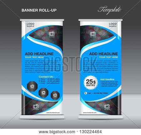 Roll up banner stand template stand design banner template blue banner advertisement flyer template vector illustration trade design blue Roll up design