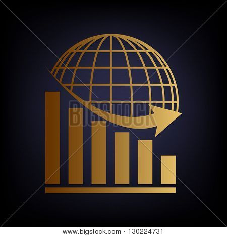 Declining graph with earth. Golden style icon on dark blue background.