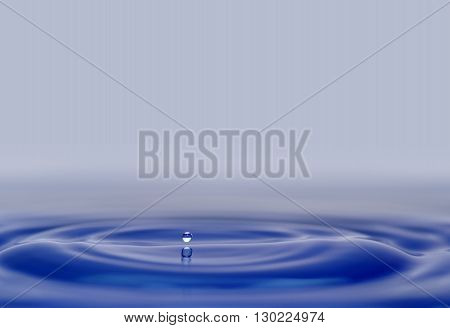 water drops and waves afloat on blue background