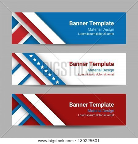 Set of modern vector horizontal banners page headers with stripes and stars in the colors of the American flag. Material design banners for Presidents day USA Independence day