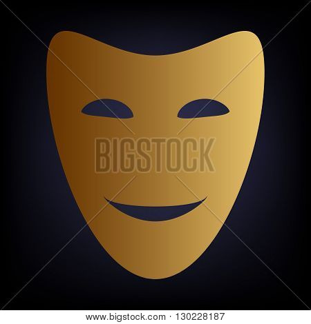 Comedy theatrical masks. Golden style icon on dark blue background.
