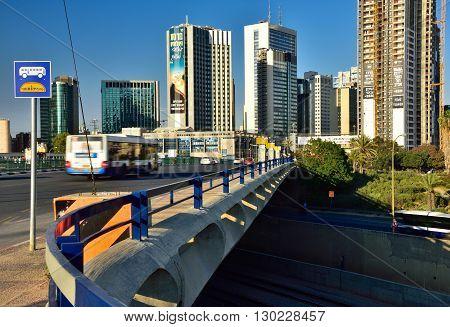 TEL AVIV, ISRAEL - MAY 26: Cityscape of Ramat Gan, modern quarter on May 26, 2016 in Tel Aviv.