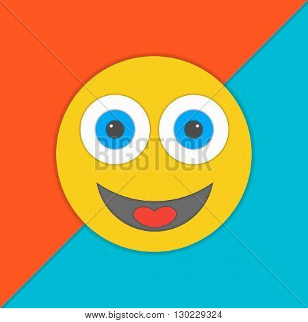 Material design smile vector illustration.