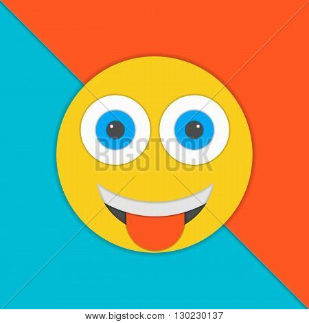 Smile material design vector illustration. Yellow smile illustration. Material design vector.