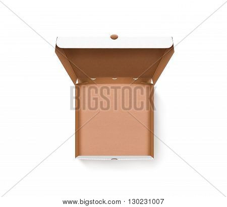 Blank opened pizza box design mock up top view isolated. Carton packaging empty pizza box delivery clear mockup. Cardboard pizza box template. Open food brown box presentation. Pizzeria branding box.