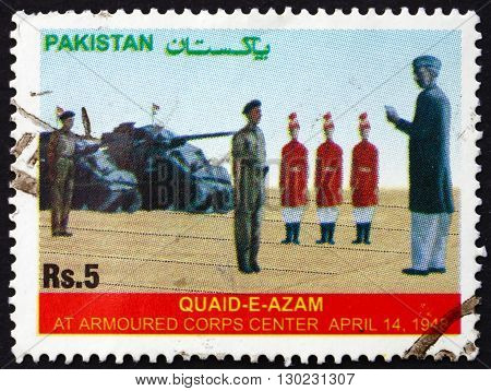 PAKISTAN - CIRCA 2006: a stamp printed in Pakistan shows Mohammed Ali Jinnah Soldiers and Tanks circa 2006