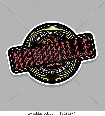 nashville, tennessee  linear emblem design for t shirts and stickers