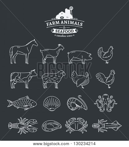 Vector Farm Animals And Seafood Thin Line Icons Collection
