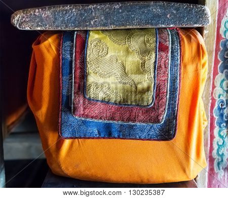 The book from the ancient Tibetan buddhist library. Himalayas Ladakh northern India.