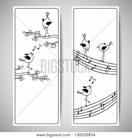 Vector set template with cute hand drawn birds. Black and white flyer design with a branch of the tree and stave.