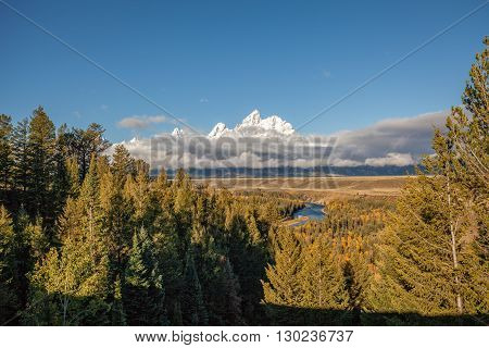 tetons in fall fem the snake river overlook