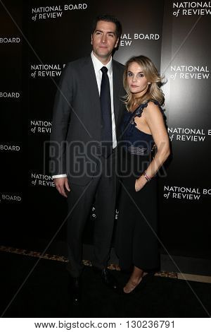 NEW YORK-JAN 5: Screenwriter Drew Goddard (L) and wife Caroline Williams attend the 2015 National Board of Review Gala at Cipriani 42nd Street on January 5, 2016 in New York City.