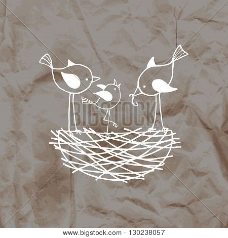 Family birds in a nest, the parents feed their nestling. Vector illustration on crumpled kraft paper background.