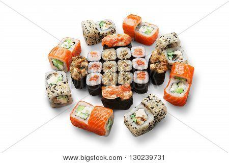 Japanese food restaurant, sushi maki gunkan roll plate or platter set. California Sushi rolls with salmon. Sushi isolated at white background.