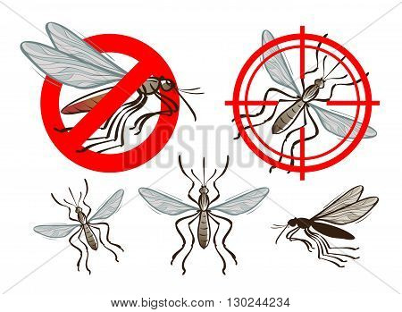 pest control, mosquito icon set. vector illustration poster