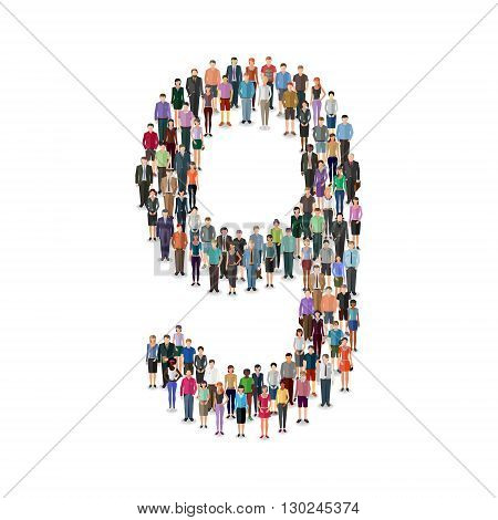 Large group of people foming number 9 on white background: different casual people collection