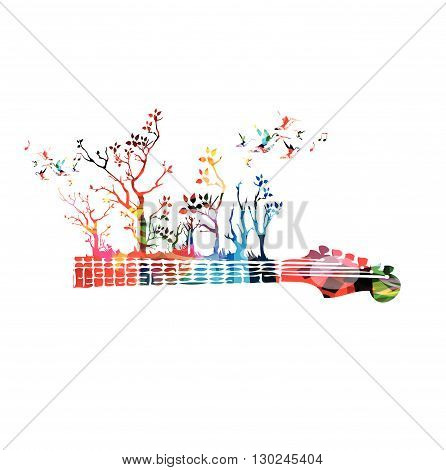 Colorful music background with guitar fretboard and hummingbirds