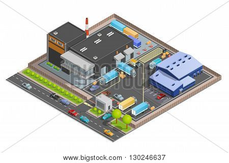 Guarded with checkpoint cargo terminal for trucks office building and parking warehouse composition isometric vector illustration