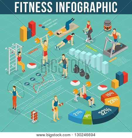 Fitness Infographic Set.Fitness Club Information. Fitness Isometric Set. Fitness Vector Illustration.