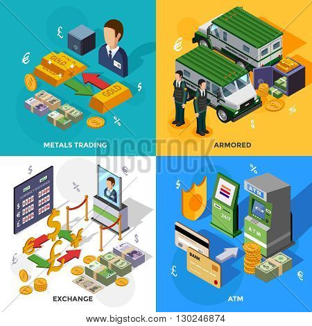 Bank 2x2 isometric design concept set with armored trucks cash machines metals trading and exchange rate compositions vector illustration