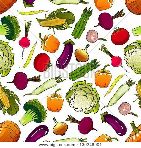 Healthy fresh vegetables background with cartoon seamless pattern of ripe tomatoes, eggplants and beans, sweet corns and bell peppers, pumpkins and beets, green broccolies, asparagus and cauliflowers, pungent onions, garlic and radishes