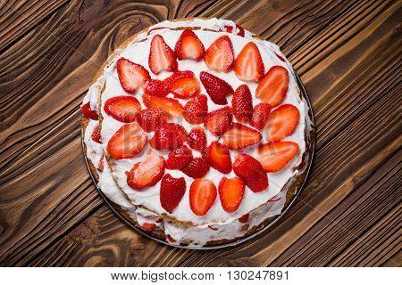 Homemade Vegan Strawberry Layer Cake