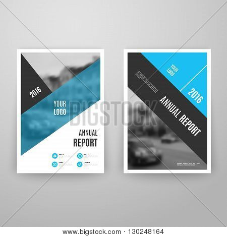 Abstract blue brochure template with icons. Annual report design. Leaflet flyer cover. A4 size. Book layout. Vector illustration. Business page. Concept graphic magazine. Corporate booklet document.