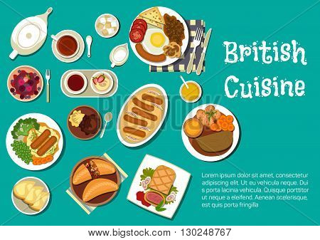 Full english breakfast icon served with mashed potatoes topped with sausages and onion gravy, beef in a pastry crust and sausages in a yorkshire pudding, lamb stew and meat pies, black tea with gypsy tart and ice cream, berry fool and summer pudding. Flat