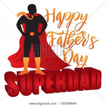 Happy Father's Day Super Dad 3D Text Superhero Silhouette Outline Color Isolated on White Background Illustration