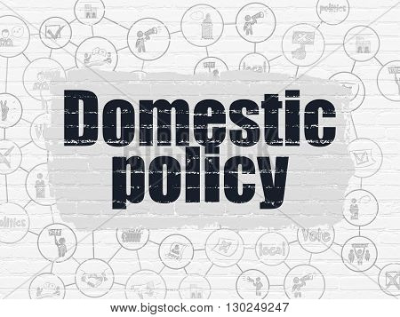 Political concept: Painted black text Domestic Policy on White Brick wall background with Scheme Of Hand Drawn Politics Icons