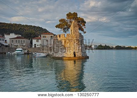 Sunset Panorama of the port of Nafpaktos town, Western Greece