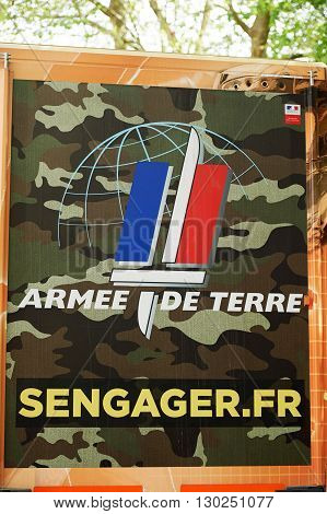 STRASBOURG FRANCE - MAY 15 2016: Rear view of a French Army recuriting truck with the main message Engage now in French army