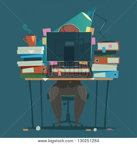 Businessman works hard at an office. Vector illustration.